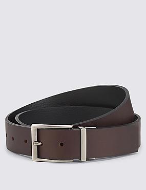 Leather Reversible Belt, BLACK/BROWN, catlanding