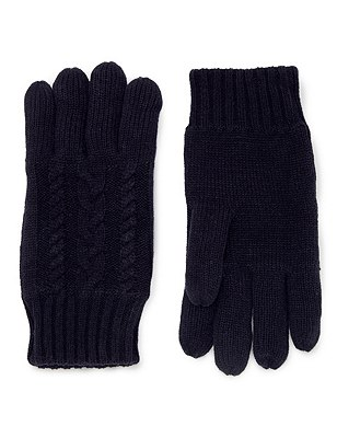 Cable Knit Gloves, NAVY, catlanding
