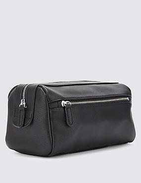Faux Leather Washbag, BLACK, catlanding