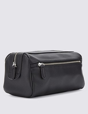 Faux Leather Washbag, BLACK, catlanding