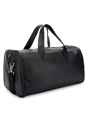 Faux Leather Holdall, BLACK, catlanding