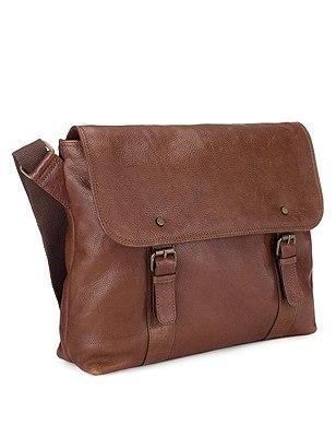 Leather Stud Dispatch Bag, BROWN, catlanding