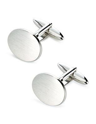 Brushed Oval Cufflinks, WHITE, catlanding