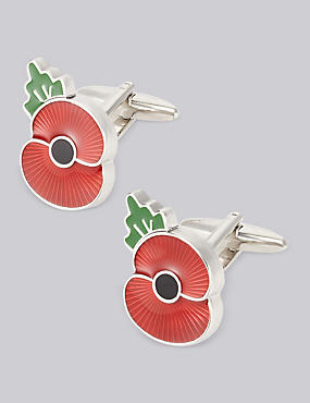 The Poppy® Collection Poppy Cufflinks, RED MIX, catlanding