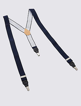 Polka Dot Adjustable Braces, NAVY, catlanding