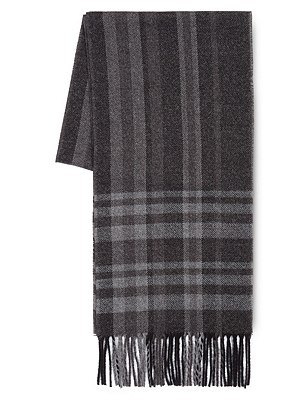 Oversized Check Scarf, GREY MIX, catlanding