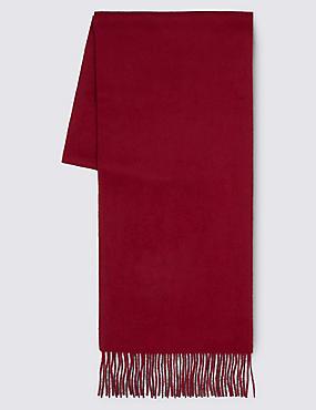 Pure Cashmere Woven Scarf, CLARET, catlanding