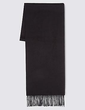 Pure Cashmere Fringe Trim Scarf, BLACK, catlanding
