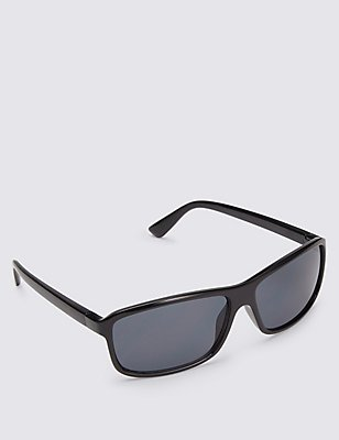 Rectangular Frame Sunglasses, BLACK, catlanding