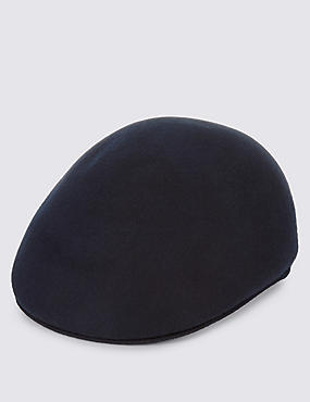 Pure Wool Flat Cap with Stormwear™, NAVY, catlanding