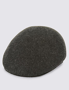 Pure Wool Flat Cap with Stormwear™, CHARCOAL, catlanding