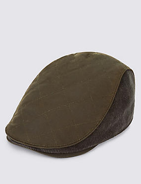 Pure Cotton Waxed Quilted Thinsulate™ Flat Cap with Stormwear™, OLIVE MIX, catlanding