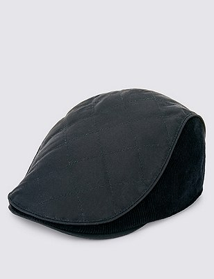 Pure Cotton Waxed Quilted Thinsulate™ Flat Cap with Stormwear™, NAVY, catlanding