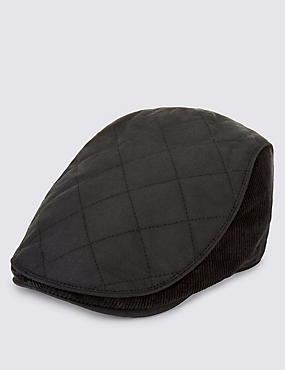 Pure Cotton Waxed Quilted Thinsulate™ Flat Cap with Stormwear™, BLACK, catlanding