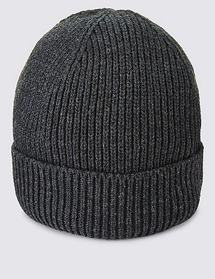 Ribbed Beanie Hat, CHARCOAL, catlanding
