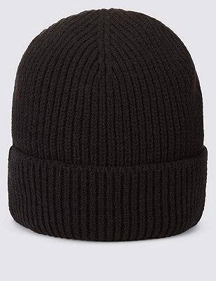 Ribbed Beanie Hat, BLACK, catlanding