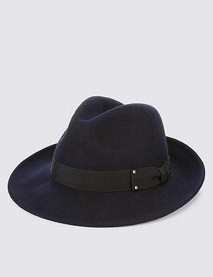 Pure Wool Fedora Hat with Stormwear™, NAVY, catlanding