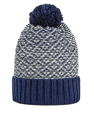 Jacquard Checked Beanie Hat with Wool, NAVY, catlanding