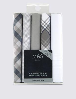 Носовые платки из чистого хлопка с классическим дизайном и антибактериальным покрытием (5 шт) от Marks & Spencer