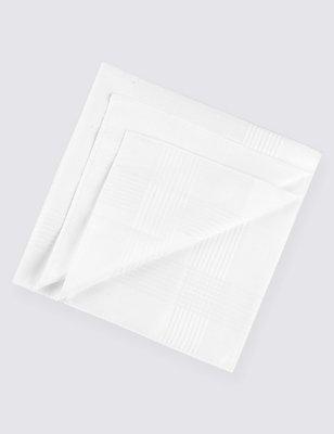 10 Pack Pure Cotton Anti-Bacterial Handkerchiefs, WHITE, catlanding
