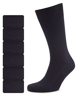 7 Pairs of Freshfeet™ Cotton Rich Socks, NAVY, catlanding