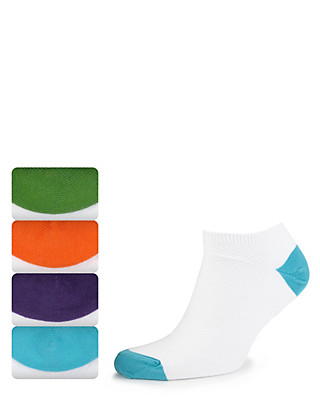 4 Pairs of Freshfeet™ Cotton Rich High Top Piqué Trainer Liner Socks Clothing