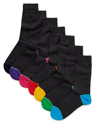 7 Pairs of Cotton Rich Freshfeet™ Stay Soft Contrast Heel & Toe Socks with Silver Technology, GREY MIX, catlanding