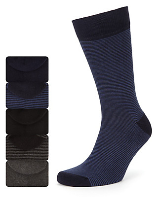 5 pairs of Cotton Rich Cushioned Sole Socks with Freshfeet™ Technology Clothing