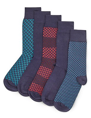 5 Pairs of Freshfeet™ Stay Soft Assorted Socks with Silver Technology, NAVY MIX, catlanding