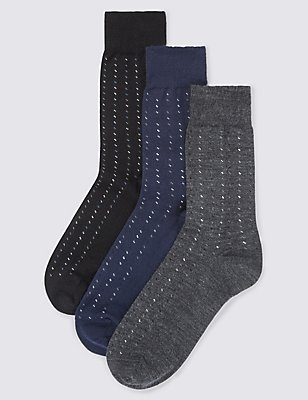 3 Pairs of Merino Wool Blend Socks, GREY MIX, catlanding