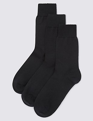 3 Pairs of Merino Wool Blend Socks, BLACK, catlanding