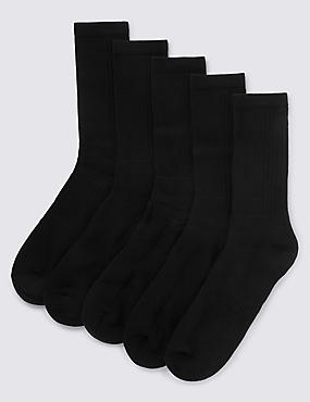5 Pairs of Cool & Fresh™ Cotton Rich Sports Socks, BLACK, catlanding