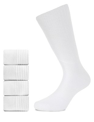 5 Pairs of Cotton Rich Freshfeet™ Sports Socks, WHITE, catlanding