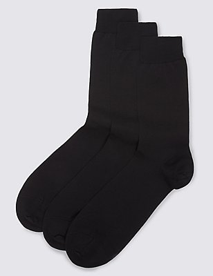 3 Pairs of Pure Cotton Luxury Mercerised Socks, BLACK, catlanding