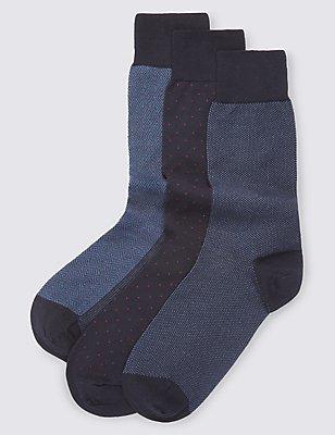 3 Pairs of Luxury Cotton Socks, BLUE MIX, catlanding