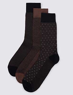 3 Pairs of Luxury Cotton Socks                     , BROWN MIX, catlanding