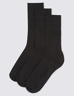 3 Pairs of Freshfeet™ Non Elastic Socks, BLACK, catlanding