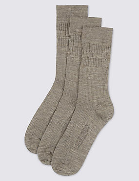 3 Pairs of Freshfeet™ Lambswool Blend  Socks, NEUTRAL, catlanding