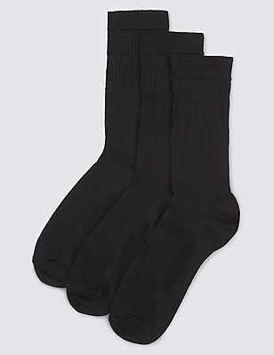 3 Pairs of Freshfeet™ Lambswool Blend  Socks, BLACK, catlanding