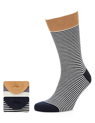 2 Pairs of Cotton Rich Striped Socks Clothing