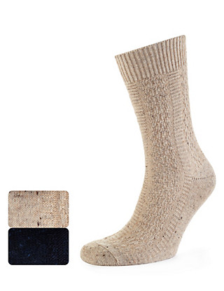 2 Pairs of Cable Knit Socks with Wool Clothing
