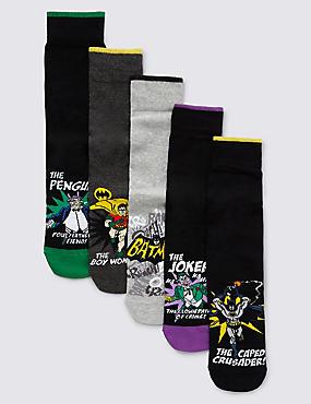 5 Pairs of Cotton Rich Batman™ Socks, BLACK MIX, catlanding