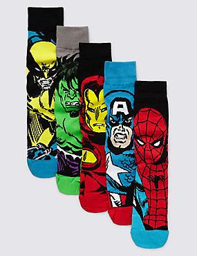 5 Pairs of Marvel Superheroes Socks, BLACK MIX, catlanding