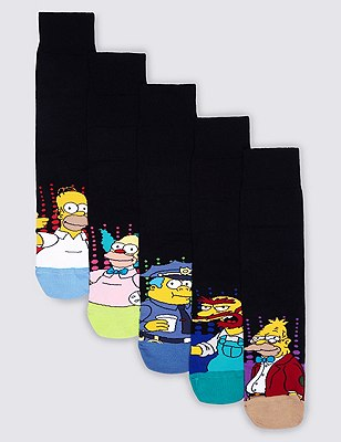 5 Pairs of Cotton Rich The Simpsons Socks, BLACK MIX, catlanding
