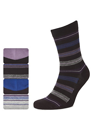 4 Pairs of Marl Block Striped Socks Clothing