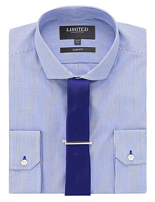 Slim Fit Bengal Striped Shirt with Tie Clothing