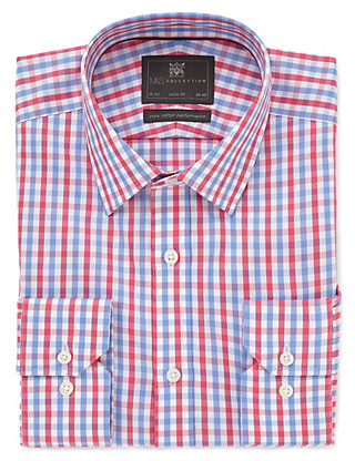 Performance Pure Cotton Slim Fit Non-Iron Gingham Checked Shirt Clothing