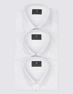 3 Pack Easy Care Short Sleeve Shirts, WHITE, catlanding