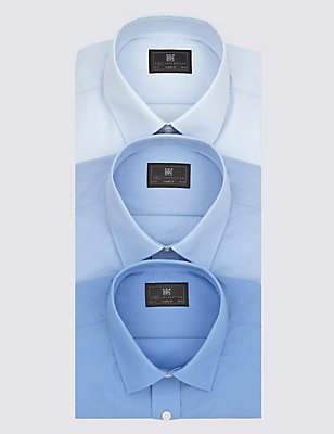 3 Pack Easy to Iron Short Sleeve Shirts, BLUE, catlanding