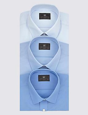 Set van 3 makkelijk strijkbare overhemden met korte mouwen, BLAUW, catlanding
